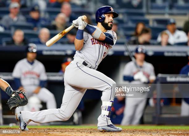 Marwin Gonzalez of the Houston Astros in action against the New York Yankees at Yankee Stadium on May 12 2017 in the Bronx borough of New York City...