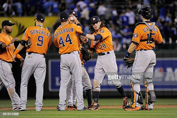 Marwin Gonzalez of the Houston Astros Luke Gregerson of the Houston Astros Colby Rasmus of the Houston Astros and Jason Castro of the Houston Astros...