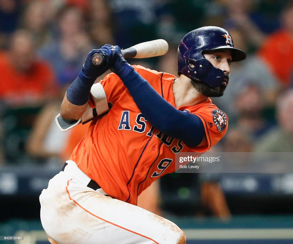 Marwin Gonzalez #9 of the Houston Astros singles in a run in the sixth inning against the New York Mets in game two of a double-header at Minute Maid Park on September 2, 2017 in Houston, Texas.