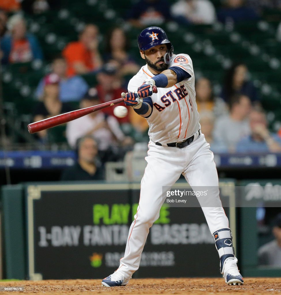 Marwin Gonzalez #9 of the Houston Astros strikes out to end the game against the New York Yankees at Minute Maid Park on May 1, 2018 in Houston, Texas.