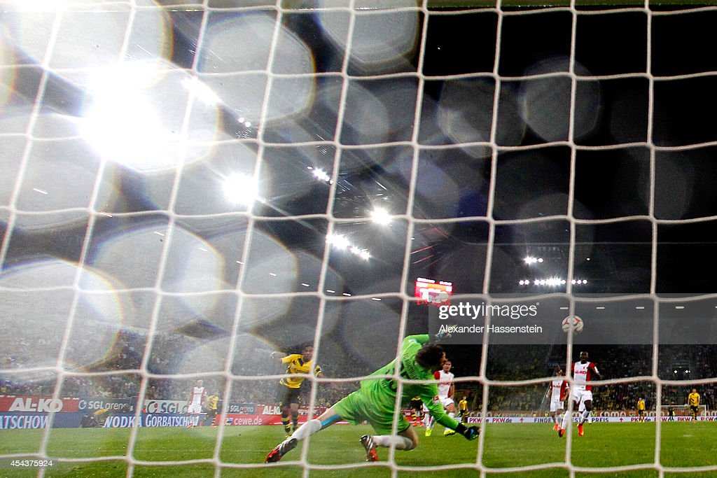 Marwin Hitz, keeper of Augsburg safes the ball during the Bundesliga match between FC Augsburg and BVB Borussia Dortmund at SGL Arena on August 29, 2014 in Augsburg, Germany.