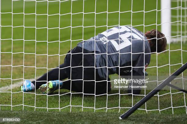 Marwin Hitz of Augsburg on the pitch after he wasn't able to save a goal against Wolfsburg to make it 10 during the Bundesliga match between FC...