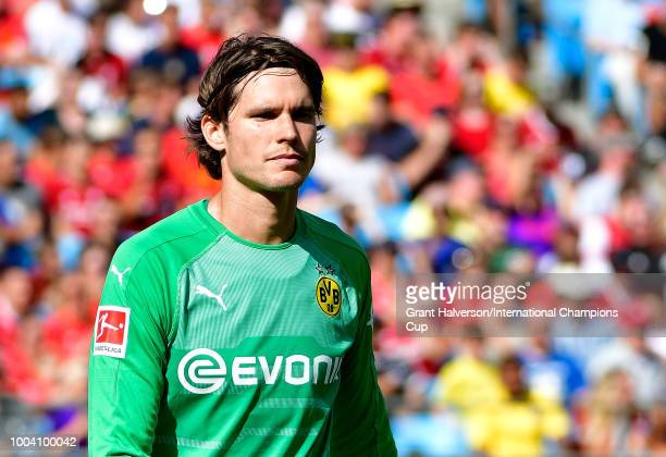 Marwin Hitz of Borussia Dortmund looks on against Liverpool during an International Champions Cup game at Bank of America Stadium on July 22 2018 in...