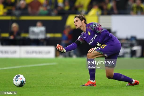Marwin Hitz of Borussia Dortmund releases the ball during the DFL Supercup 2019 match between Borussia Dortmund and FC Bayern München at Signal Iduna...