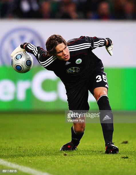 Marwin Hitz of Wolfsburg in action during the Volkswagen Supercup final match between VfL Wolfsburg and SV Werder Bremen at Volkswagen Arena on July...
