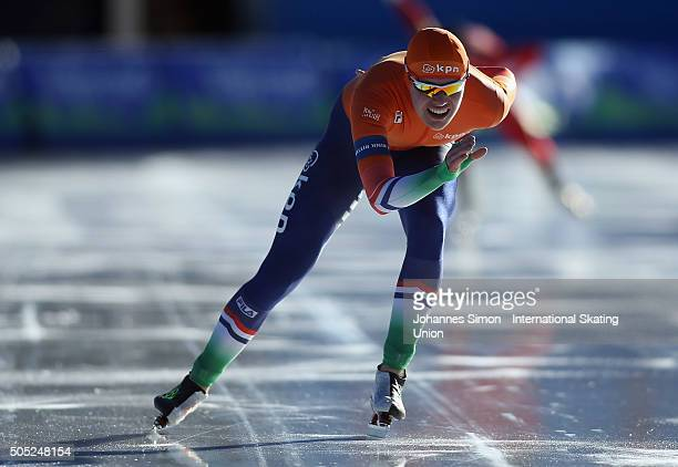 Marwin Talsma of Netherlands participates in the men 1500 m heats during day 1 of ISU speed skating Junior World Cup at ice rink Pine stadium on...