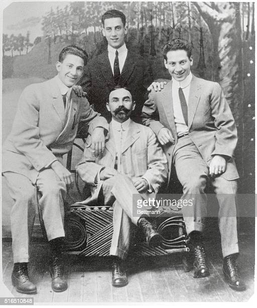 Marx Brothers when they played in vaudeville under the name of The Three Nightingales Left to right Gummo Julius Schickler their uncle who served as...