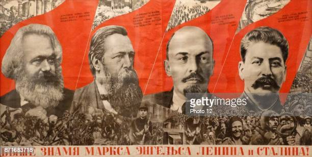Marx Engels Lenin Stalin flag more high ' Soviet Russian Communist propaganda poster lithograph on paper