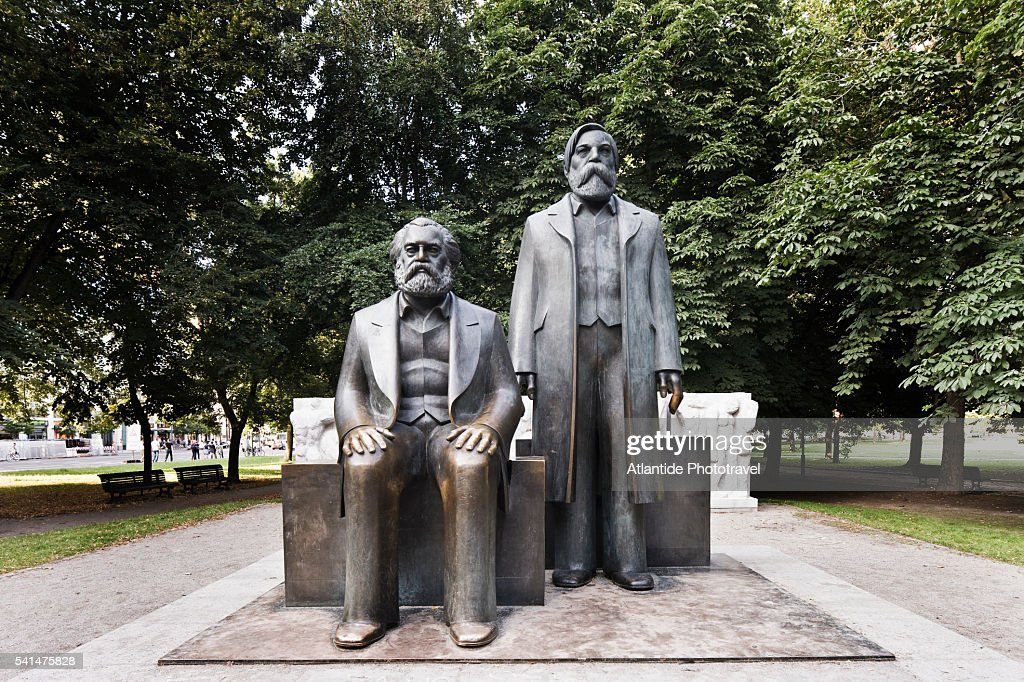 Marx-Engels-Forum, the statues of Marx and Engels : Stock Photo
