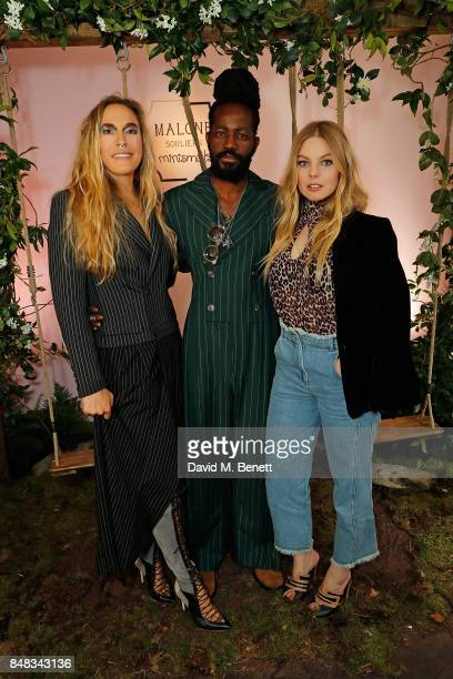 Mary Alice Malone, Roy Luwolt and Nell Hudson attend the Malone Souliers London Fashion Week SS18 Presentation on September 17, 2017 in London,...