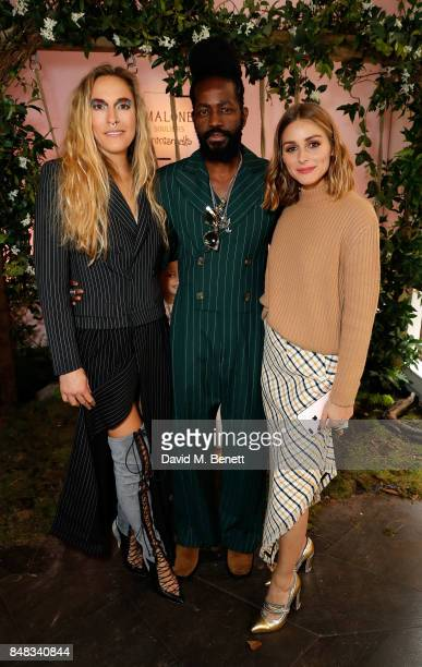Mary Alice Malone, Roy Luwolt and Olivia Palermo attend the Malone Souliers London Fashion Week SS18 Presentation on September 17, 2017 in London,...