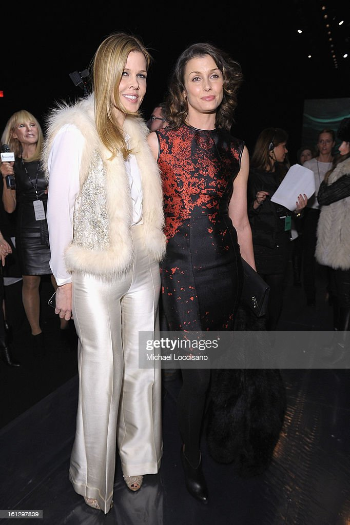 Mary Alice Stephenson (L) and actress Bridget Moynahan attend the Monique Lhuillier Fall 2013 fashion show during Mercedes-Benz Fashion at The Theatre at Lincoln Center on February 9, 2013 in New York City.