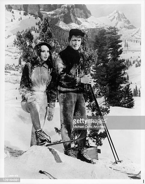 Mary Ann Mobley And Chad Everett vacation in Sun Valley in a scene from the film 'Get Yourself A College Girl' 1964