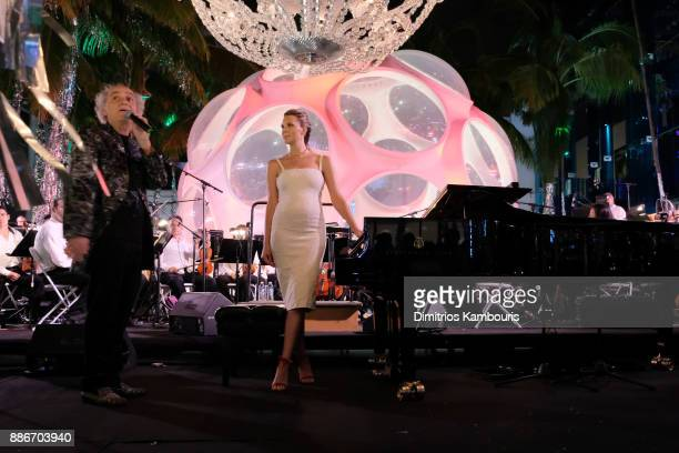 Mary Anne Huntsman and Eduardo Marturet perform onstage during Chrome Hearts & Baccarat celebrate The Miami Design District with Jesse Jo Stark, Mary...