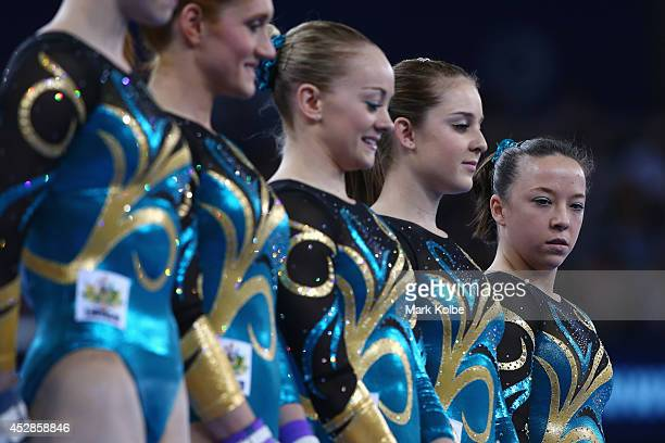 Mary Anne Monckton of Australia looks on prepares to compete in the Women's Team Final Individual Qualification at the SECC Precinct during day five...