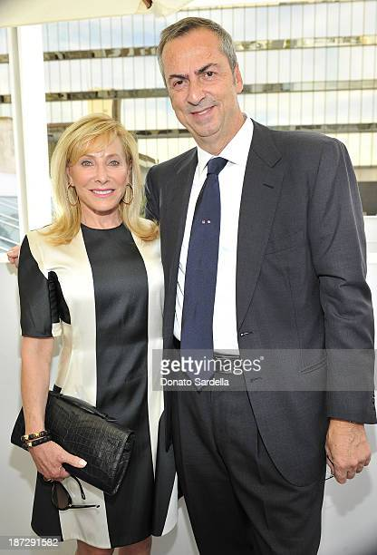 Mary Anne Weisberg and Carlo Traglio CEO of Vhernier attends Vhernier luncheon hosted by Jennifer Hale from C Magazine at Gagosian Gallery on...
