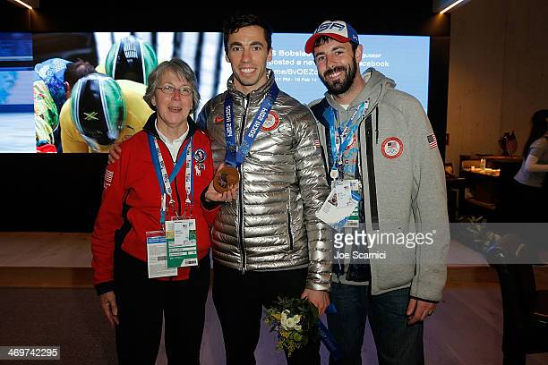 Mary Antoine US Olympian Matthew Antoine and Nick De Julio visit the USA House in the Olympic Village on February 16 2014 in Sochi Russia