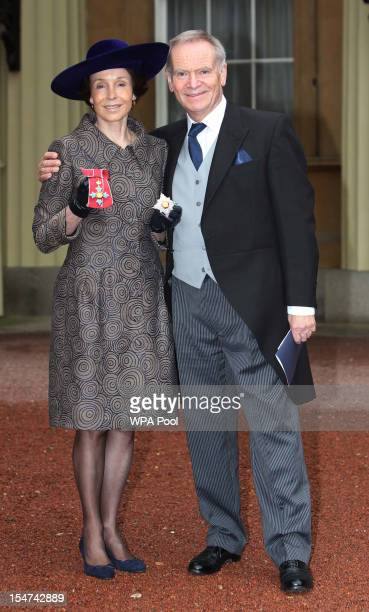 Mary Archer poses after she was made a Dame with her husband Jeffrey Archer at a Royal Investiture ceremony at Buckingham Palace on October 25 2012...