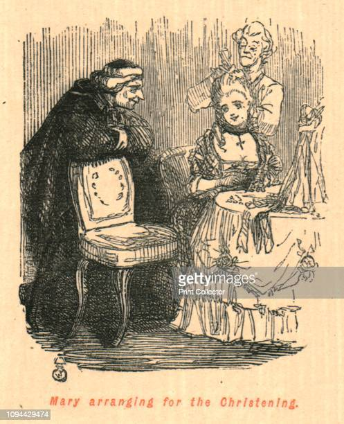 Mary arranging for the Christening' 1897 Possibly a satire on Queen Mary II of England who was unable to bear children From 'The Comic History of...
