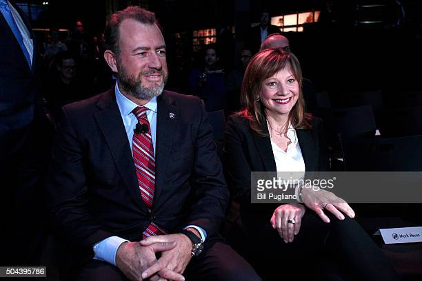 Mary Barra Chairman and CEO of General Motors sits with Dan Ammann President of General Motors at the reveal of the Buick Avista Concept on the eve...