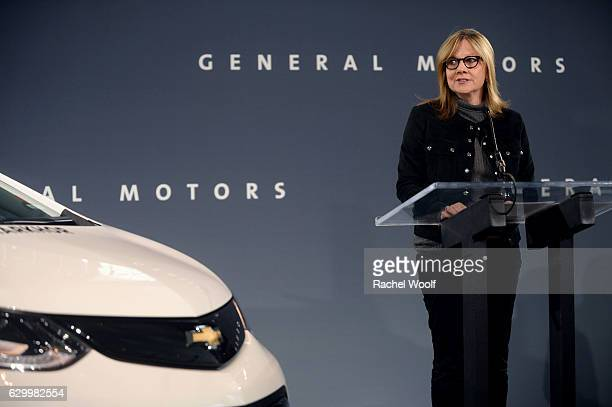 Mary Barra Chairman and CEO of General Motors speaks during a General Motors press conference at the Renaissance Center on December 15 2016 in...