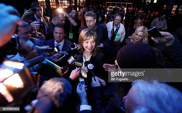 Mary Barra Chairman and CEO of General Motors speaks with the news media after the reveal of the new Buick Avista Concept at the Buick reveal on the...