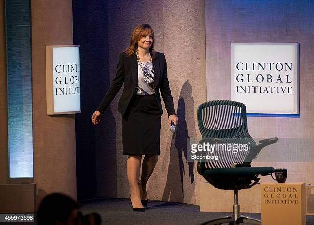 Mary Barra chief executive officer of General Motors Co arrives to speak during a panel discussion at the annual meeting of the Clinton Global...