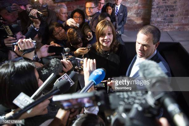 Mary Barra, chief executive officer of General Motors Co. , center, speaks to members of the media during an event at the 2019 North American...