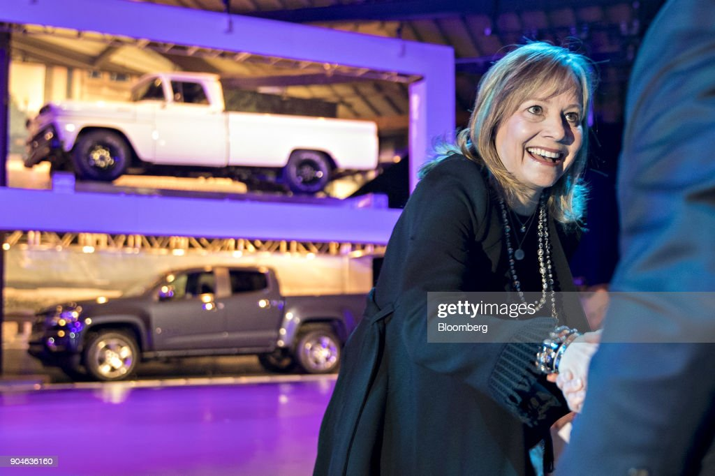 Mary Barra, chief executive officer of General Motors Co. (GM), greets an attendee at an event during the 2018 North American International Auto Show (NAIAS) in Detroit, Michigan, U.S., on Saturday, Jan. 13, 2018. GM kicked off the Detroit auto show by revealing all-new Silverado pickup truck that is the first all-new, completely-redesigned truck the automaker has sold since 2007. Photographer: Andrew Harrer/Bloomberg via Getty Images