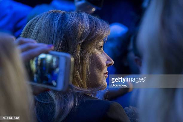 Mary Barra chief executive officer of General Motors Co listens to a question while speaking to members of the media during a General Motors Co Buick...