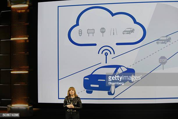 Mary Barra chief executive officer of General Motors Co speaks during the 2016 Consumer Electronics Show in Las Vegas Nevada US on Wednesday Jan 6...