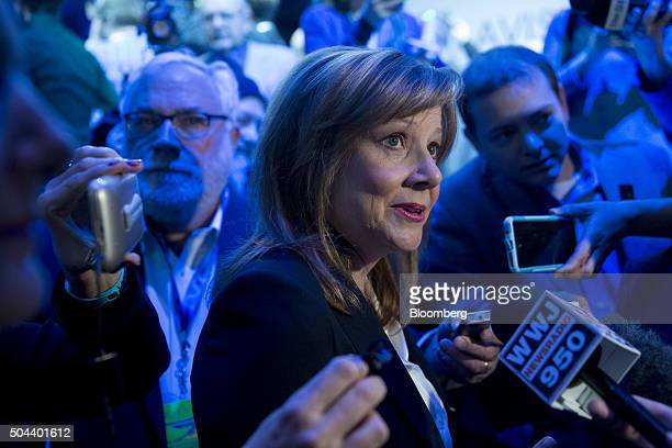 Mary Barra chief executive officer of General Motors Co speaks to members of the media during a General Motors Co Buick event ahead of the 2016 North...