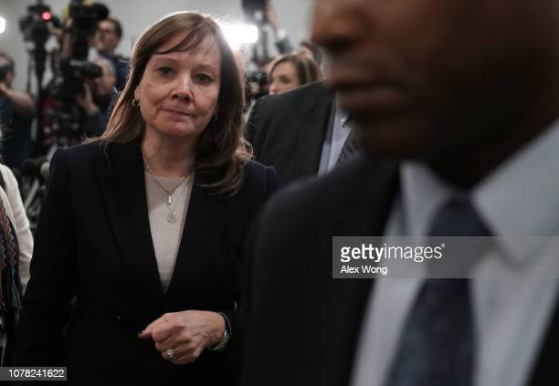 Mary Barra Chief Executive Officer of General Motors leaves after a meeting with members of the Congressional Michigan delegation on Capitol Hill...
