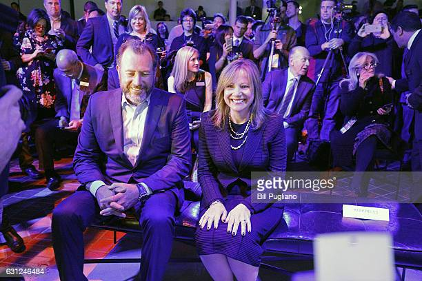 Mary Barra GM Chairman and CEO and Dan Ammann President of GM wait for the start of the reveal of the 2018 GMC Terrain at the 2017 North American...
