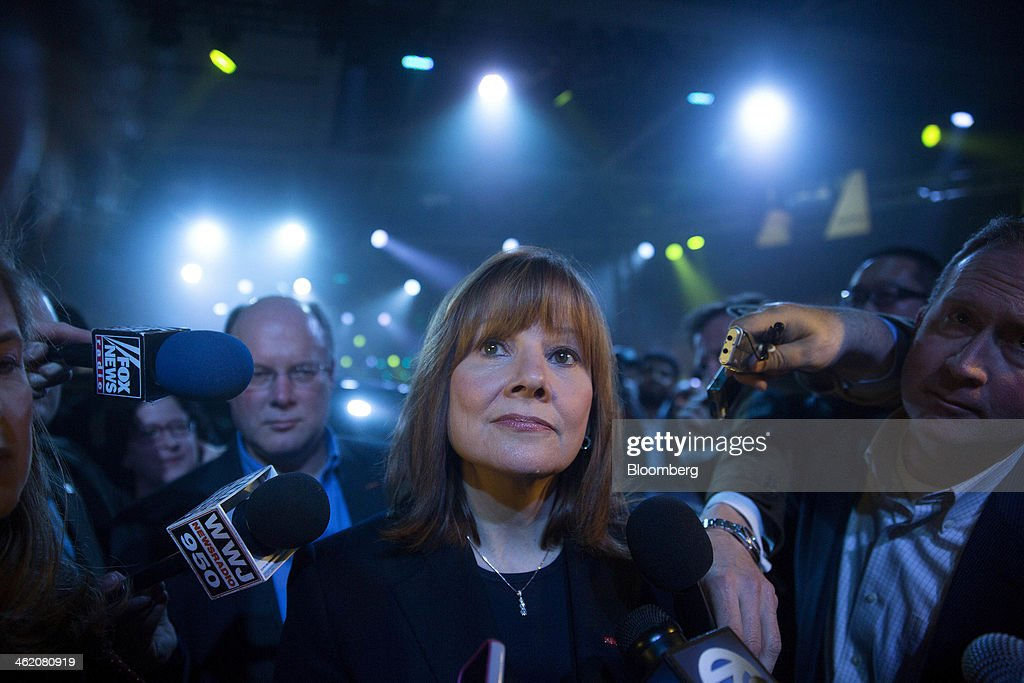 Mary Barra, incoming chief executive officer of General Motors Co. (GM), speaks to the media after the GM 2015 GMC Canyon truck unveiling ahead of the 2014 North American International Auto Show (NAIAS) in Detroit, Michigan, U.S., on Sunday, Jan. 12, 2014. General Motors Co., taking aim at competitors in the full-sized truck category, plans to unveil the GMC brand's version of its new midsized truck that offers drivers towing power at a lower cost than larger vehicles. Photographer: Andrew Harrer/Bloomberg via Getty Images