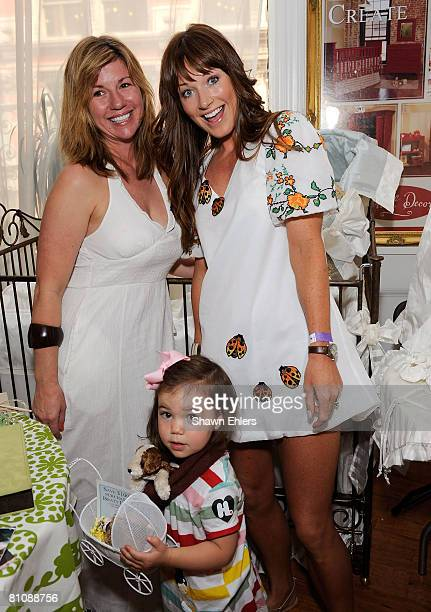 Mary Bauer Harlow Notar and Jane Notar pose with Bratty Decor products at The Boom Boom Room Celebrating Upfronts Media Preview at Home Studios on...