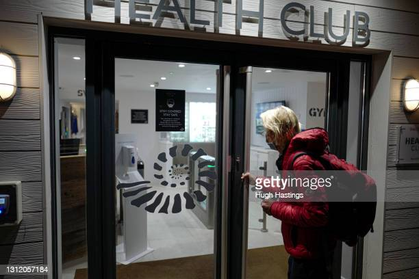 Mary Bear, aged 72, who was the first member of the St Michael's Health Club to return at 6am on April 12, 2021 in Falmouth, England. England has...