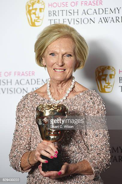 Mary Berry accepting the Feature award for 'The Great British Bake Off' poses in the Winners room at the House Of Fraser British Academy Television...