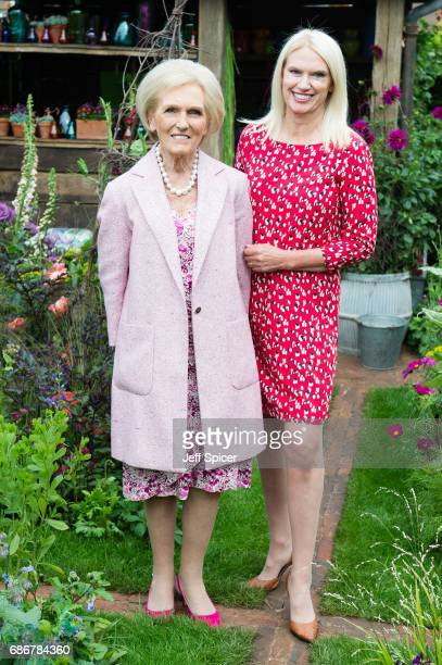 Mary Berry and Anneka Rice in the Anneka Rice Cutting Garden during RHS Chelsea Flower Show press day at Royal Hospital Chelsea on May 22 2017 in...