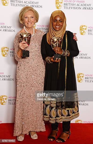 Mary Berry and Bake Off winner Nadiya Hussain accepting the Feature award for The Great British Bake Off pose in the winners room at the House Of...
