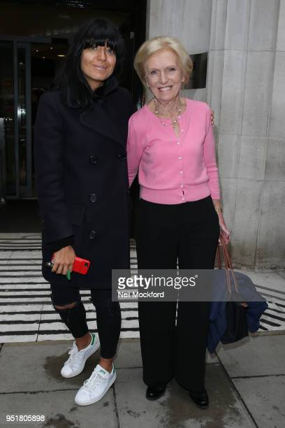 Mary Berry and Claudia Winkleman seen leaving BBC Radio 2 after talking about their new show 'Britain's Best Home Cook' on April 27 2018 in London...