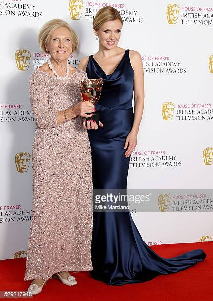 Mary Berry and Katherine Jenkins pose in the winners room at the House Of Fraser British Academy Television Awards 2016 at the Royal Festival Hall on...