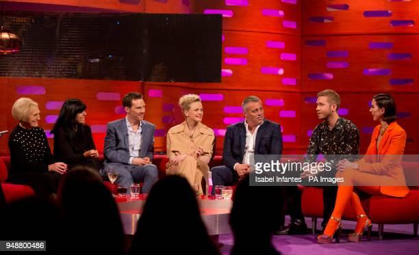 Mary Berry Claudia Winkleman Benedict Cumberbatch Maxine Peake Matt LeBlanc Calvin Harris and Dua Lipa during the filming of the Graham Norton Show...