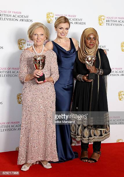 Mary Berry Katherine Jenkins and Nadiya Hussain pose in the winners room at the House Of Fraser British Academy Television Awards 2016 at the Royal...