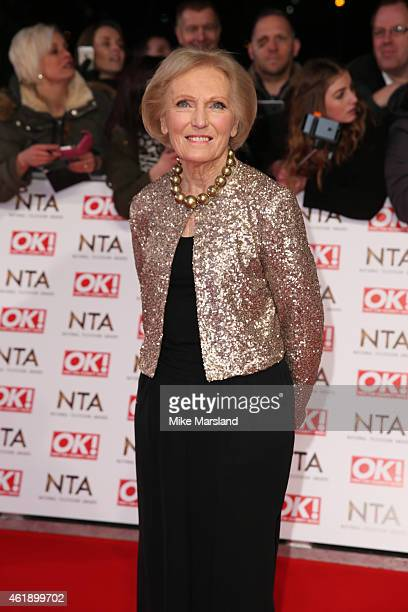 Mary Berry of 'The Great British Bake Off ' attends the National Television Awards at 02 Arena on January 21 2015 in London England