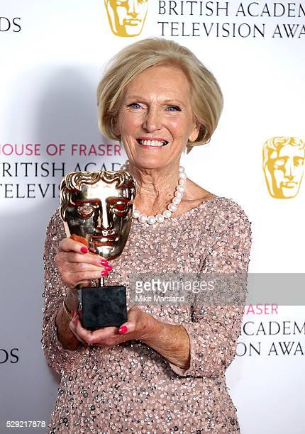 Mary Berry poses in the winners room at the House Of Fraser British Academy Television Awards 2016 at the Royal Festival Hall on May 8 2016 in London...