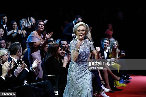 Mary Berry reacts to winning the Best TV Judge during the National Television Awards at The O2 Arena on January 25 2017 in London England