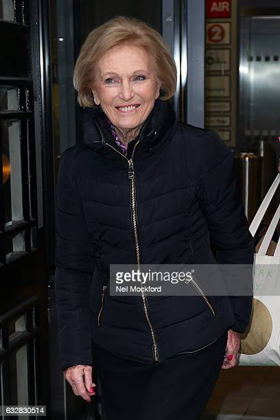 Mary Berry seen at BBC Radio 2 promoting her new book on January 27 2017 in London England
