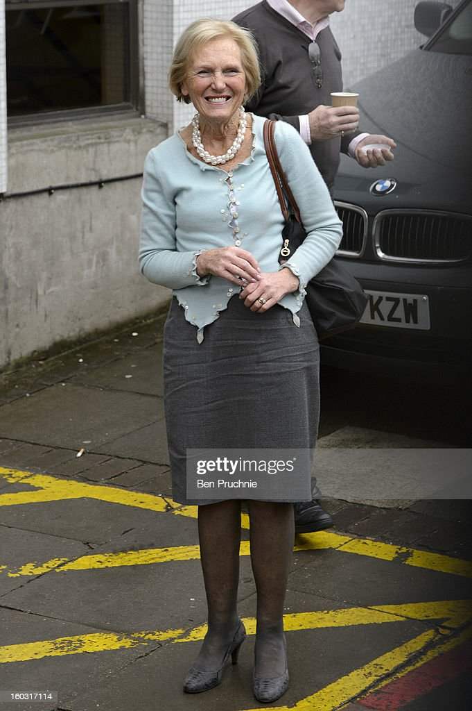 Mary Berry sighted arriving at ITV Studios on January 29, 2013 in London, England.