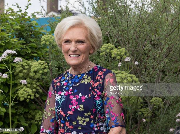 Mary Berry visits Royal Hospital Chelsea gardens as the RHS Chelsea Flower Show opens in London England on May 20 2019